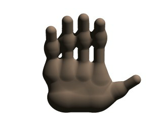 A hand made with blobs.