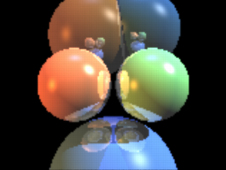 Some spheres raytraced by the SDL at 160x120